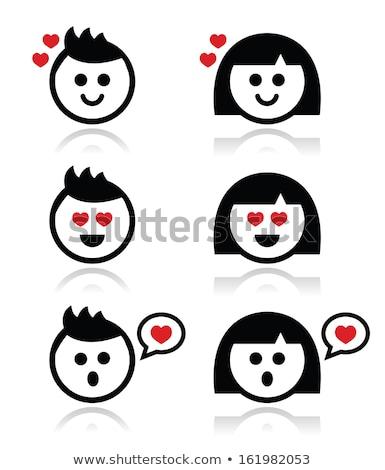 man or boy with spiky hair faces icons set stock photo © redkoala
