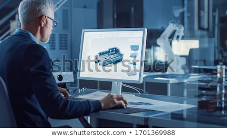 модель компьютер красивой брюнетка рабочих говорить Сток-фото © actionsports