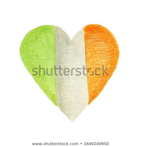 Ierse vlag vorm hart wenskaart ontwerpsjabloon Stockfoto © HelenStock