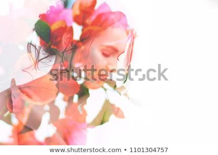 Floreale donna design farfalle fiore primavera Foto d'archivio © olgaaltunina