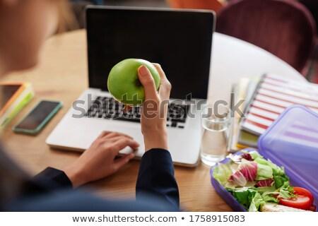 green apple on laptop keyboard Stock photo © mizar_21984