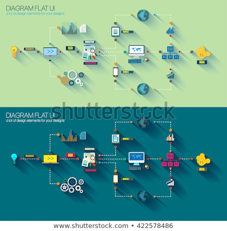 Stock photo: Flat Style Diagram Infographic And Ui Icons To Use For Your Business Project Marketing Promotion