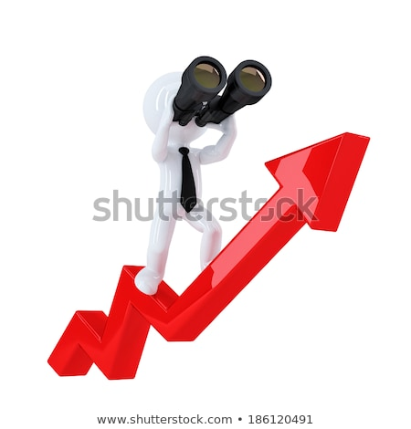 Businessman with binoculars on top of the graph arrow. Business concept. Isolated. Contains clipping Stock photo © Kirill_M