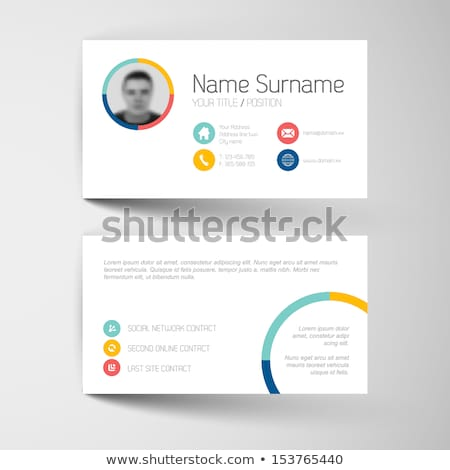 Modern red business card template with flat user interface Stock photo © orson