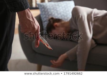 Kadın el kanlı bıçak kan arka plan Stok fotoğraf © amok