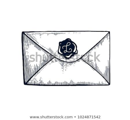 Vintage конверт бумаги кадр знак почты Сток-фото © andromeda