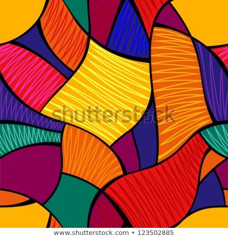 3D abstrato azulejos mosaico amarelo azul Foto stock © Melvin07