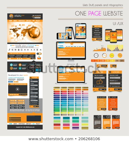 Сток-фото: One Page Website Flat Ui Uxdesign Template