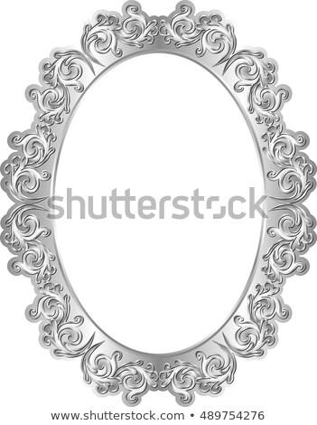 серебро овальный кадр изолированный белый Сток-фото © Witthaya
