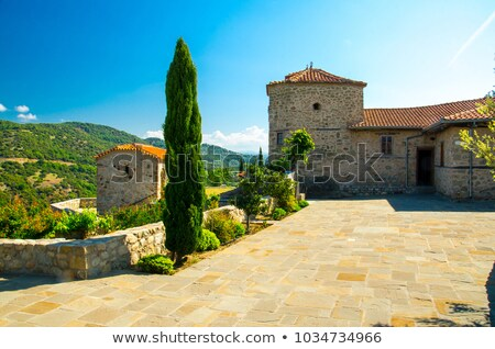courtyard of the holy monastery of rousanou in greece stock photo © mahout