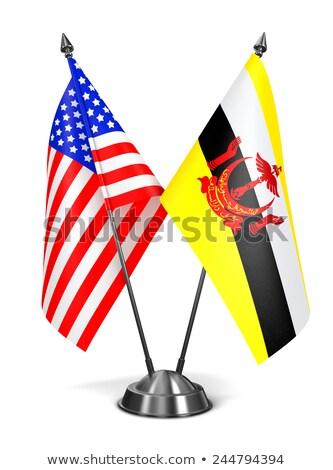 USA Brunei miniatura bandiere isolato bianco Foto d'archivio © tashatuvango