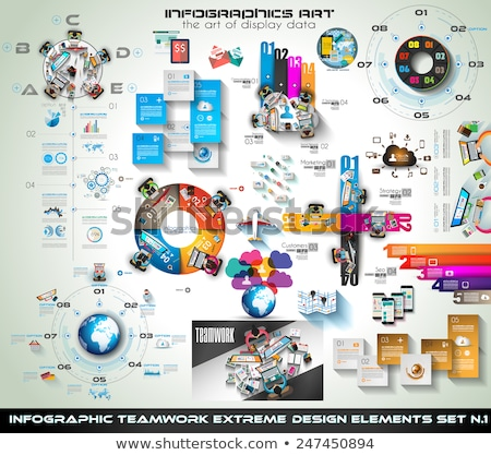 infographic teamwork mega collection brainstorming icons with flat style stock photo © davidarts