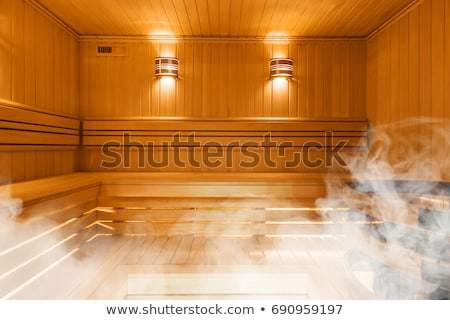 Stockfoto: Traditional Wooden Sauna For Relaxation With Bucket Of Water