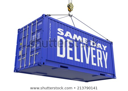 Same Day Delivery - Blue Hanging Cargo Container. Stock photo © tashatuvango