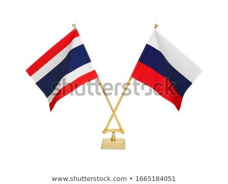 Rosja Tajlandia miniatura flagi odizolowany biały Zdjęcia stock © tashatuvango