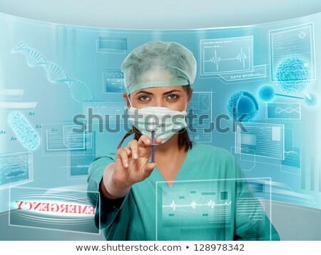 Foto stock: Retrato · senhora · cirurgião · seringa