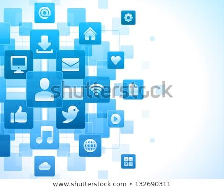 Foto d'archivio: Web · internet · sociale · piazza · vettore · blu