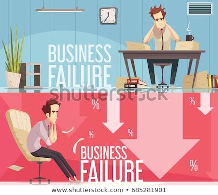 Homem de negócios falha sentar-se para baixo isolado corpo Foto stock © fuzzbones0