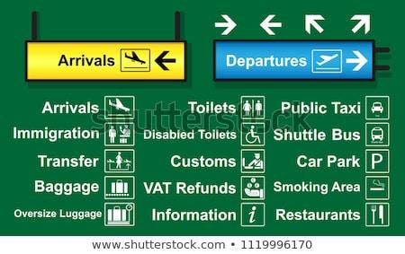 ストックフォト: 空港 · 標識 · 出発 · にログイン · ポインティング · 出発