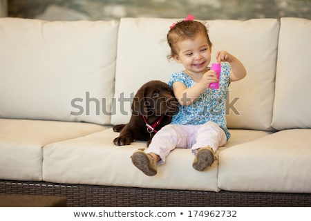 Stock photo: Cute little girl with her puppy on couch