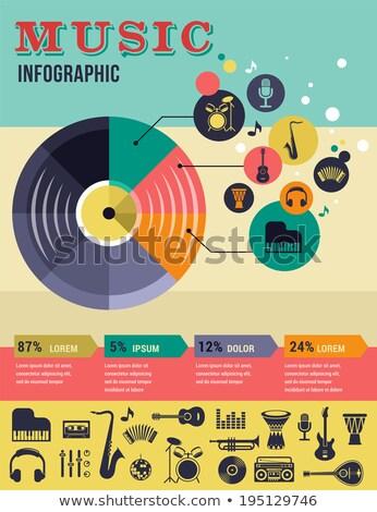 Muzyki infografiki kształt serca retro doskonały eps Zdjęcia stock © netkov1