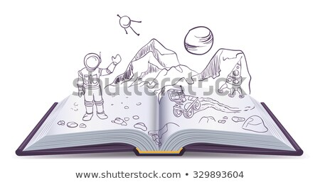 Livre ouvert science-fiction espace illustration vecteur format Photo stock © orensila