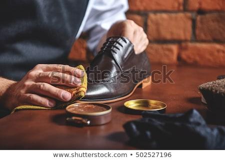 ayakkabı · parlak · siyah · fırçalamak · sarı - stok fotoğraf © timh