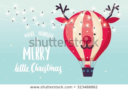 Mikulás hőlégballon illusztráció tájkép hó felirat Stock fotó © adrenalina