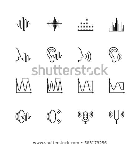 Zdjęcia stock: Ucha · dźwięku · fale · line · ikona · internetowych