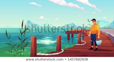 Halászat dokk rajz illusztráció egyedülálló férfi ül Stock fotó © blamb