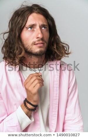 Plein d'espoir homme gris trois trimestre Photo stock © ozgur