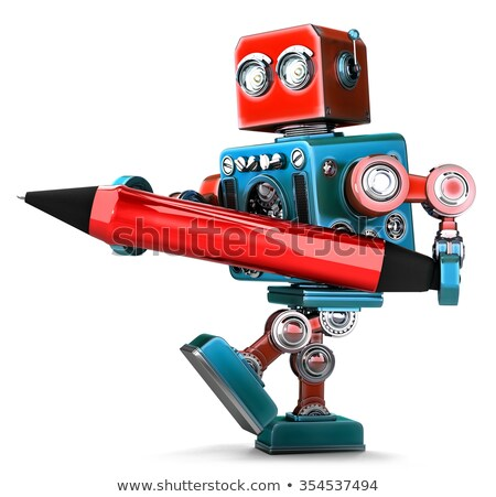 vintage robot with red pen isolated contains clipping path stock photo © kirill_m