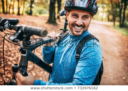 Man mountainbike fiets gelukkig sport fitness Stockfoto © Kzenon