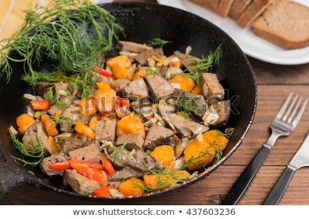 Stock photo: Pan fried liver on plate