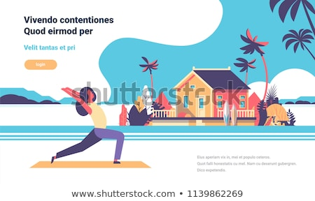 Femme yoga maison de plage illustration plage heureux Photo stock © adrenalina