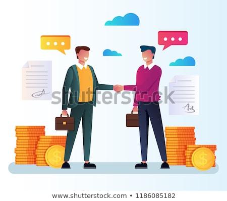 işadamları · anlaşma · siyah · beyaz · yalıtılmış · beyaz - stok fotoğraf © lostation