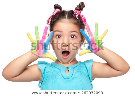 Happy creative little girl with her paints Stock photo © ozgur