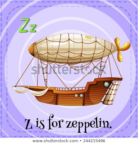 Flashcard letter Z is for zeppelin Stock photo © bluering