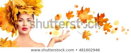 sonbahar · park · güzel · esmer · genç · poz - stok fotoğraf © lithian