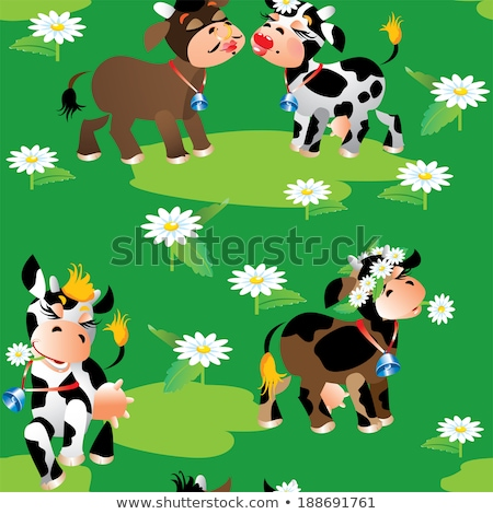 Cartoon modèle fleurs herbeux domaine Photo stock © adrian_n