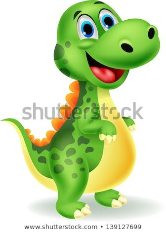 aranyos · dinoszaurusz · rajz · pózol · mosoly · test - stock fotó © jawa123