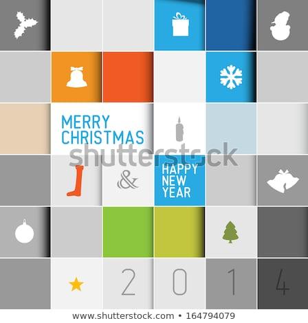 Proste nowoczesne wektora christmas mozaiki karty Zdjęcia stock © orson