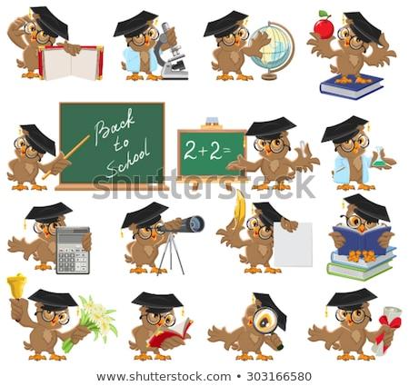 Сток-фото: Owl Graduate Holding Diploma