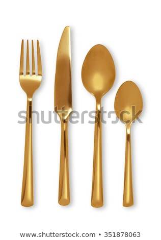 Stok fotoğraf: Silver And Gold Spoon Isolated On White Clipping Path