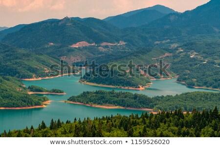 Tó központi Görögország panorámakép kilátás fa Stock fotó © ankarb