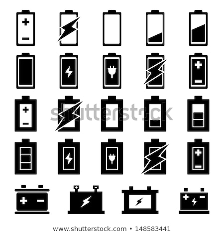 black and white battery icons stock photo © bluering