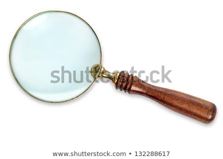 Sárgaréz nagyító fém fa üveg fehér Stock fotó © Bigalbaloo