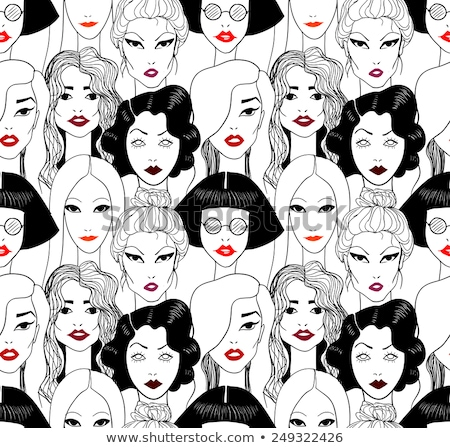 Vintage red lips pattern on the background Stock photo © Panaceadoll