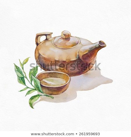 Chinese teapot and bowl  with green tea on the stone background horizontal stock photo © Karpenkovdenis