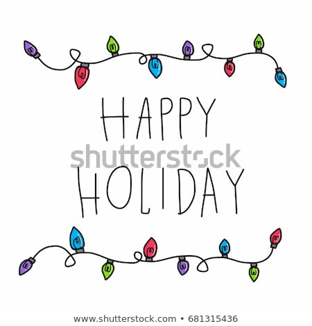 christmas lights and red lettering banner stock photo © sonya_illustrations